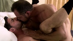 Two Naughty Daddies Indulging In Passionate Gay Sex All Over The Bed
