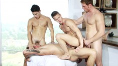 Ripped Buddies Fill Their Mouths And Asses With Cock In A Wild All-male Orgy