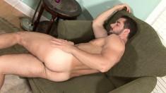 Stud puts lotion on his prick for a nice smooth handjob session
