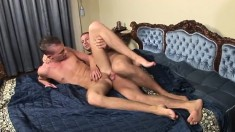 Tattooed Hunk With A Muscled Body Punishes His Lover's Ass On The Bed