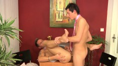 Lusty young tiger is eager to swallow this hung hunk's cum gun
