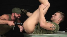 Military Boy Has An Experienced Stud Banging His Ass With A Black Toy
