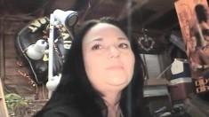 Brunette hooker Tasha enjoys a cigarette and reveals her oral talents