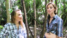 Two Naughty Babes Getting Pounded By A Pair Of Hung Boys In The Woods