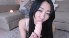 Uncouth asian toying and blowjob