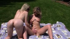 Two Busty Lesbian Hotties Fingering Each Other Outdoor