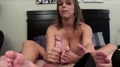 Sweaty Footjob And Cum Inside Her Shoe.