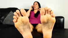 Horny Foot Fetish Brunette Getting Her Pussy Slammed