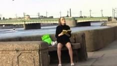Cougar flashing pussy in public