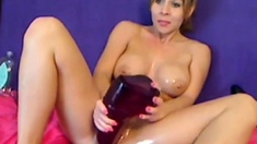 WOW - Huge Dildo Makes This Cutie Squirt!